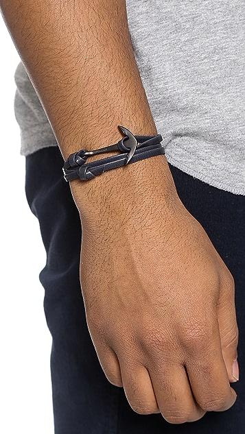 Miansai Anchor Leather Wrap Bracelet