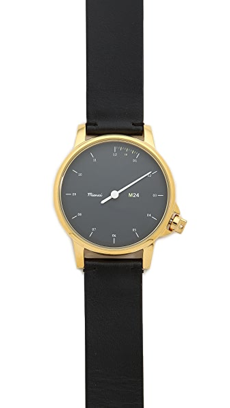 Miansai M24 Black Dial Watch on Leather Band