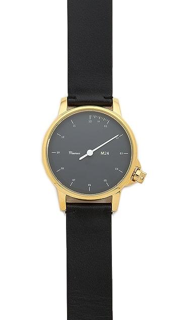 Miansai M24 Black Dial Watch on Leather Band