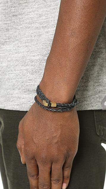 Miansai Ipsum Leather Wrap Bracelet