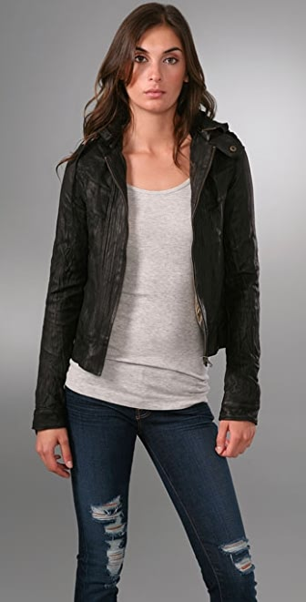 Mike & Chris Basil Leather Jacket with Hood