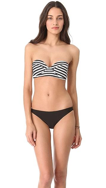 MIKOH Bordeaux Structured Bandeau Bikini Top