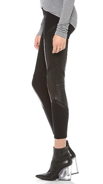 Mila Hermanovski Chevron Leather Leggings