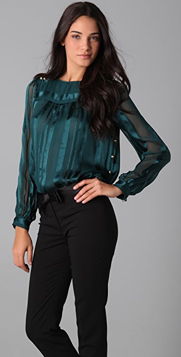 Milly Piped Amia Boat Neck Blouse