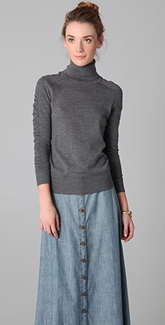 Milly Shirred Sleeve Turtleneck Sweater
