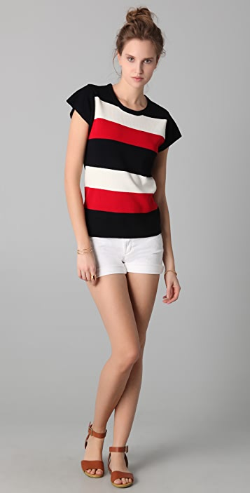 Milly Faye Striped Knit Top