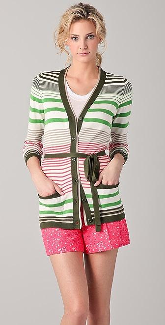 Milly Striped Boyfriend Cardigan