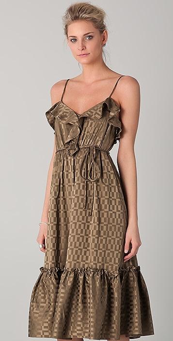 Milly Adrienne Ruffle Midi Dress