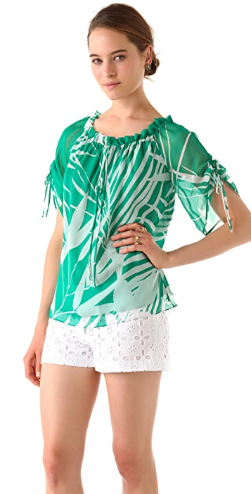 Milly Palm Print Top
