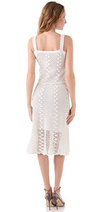 Milly Crochet Overlay Midi Dress