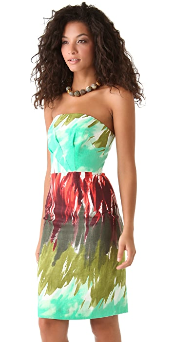 Milly Brushstroke Kali Strapless Dress