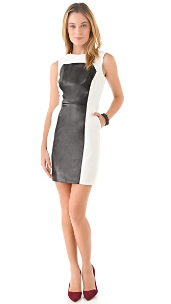 Milly Nina Leather Panel Dress