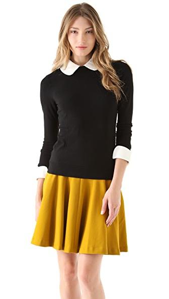 Milly Leather Trim Sweater