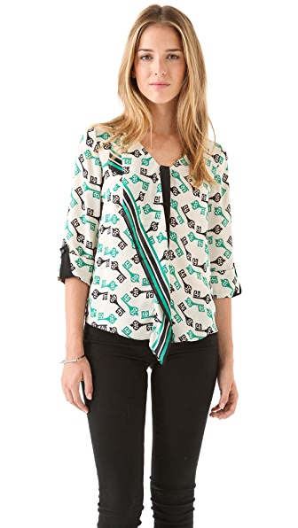 Milly Cascade Key Print Top