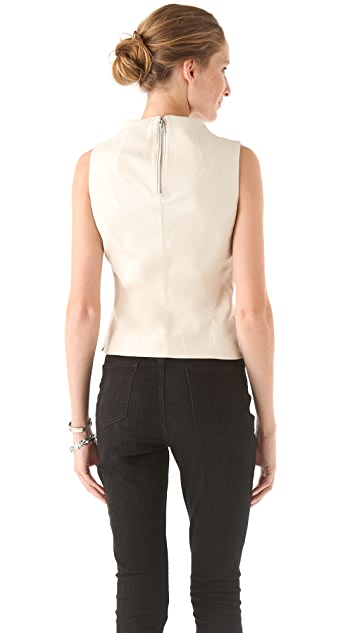 Milly Seamed Leather Top