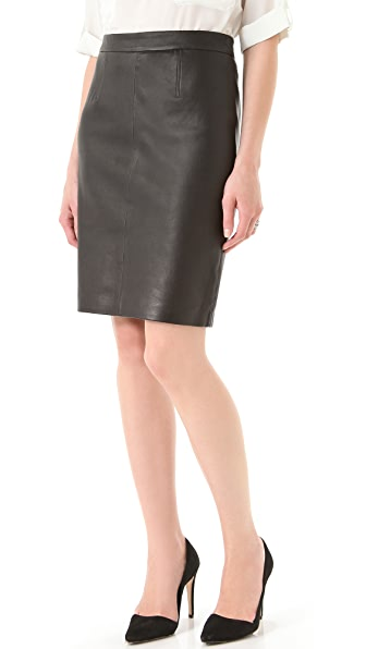 Milly Edith Leather Pencil Skirt