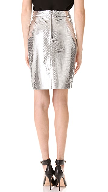 Milly Mirrored Python Pencil Skirt