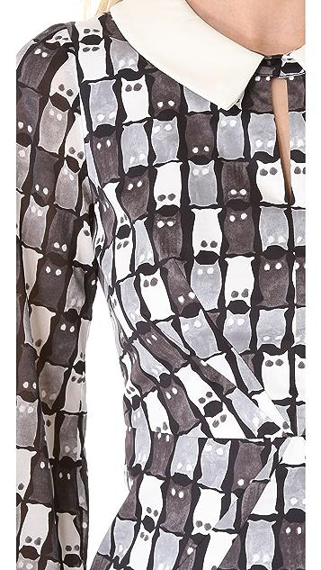 Milly Hayden Leather Collar Dress