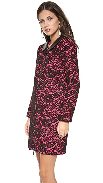 Milly Lace Overlay Zip Coat