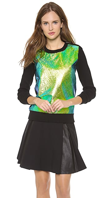Milly Iridescent Leather Front Sweater