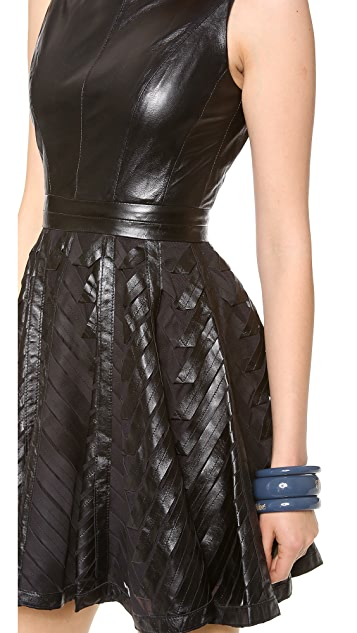 Milly Chevron Leather Circle Dress