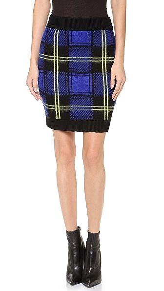 Milly Washed Plaid Miniskirt