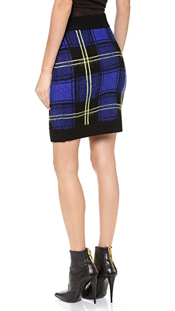 Milly Washed Plaid Miniskirt