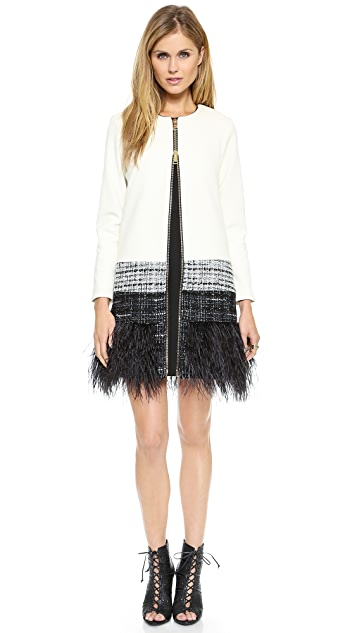 Milly Feather Trim Jacket