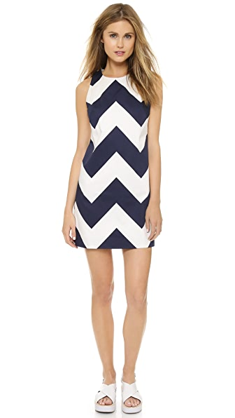Shop Milly online and buy Milly Chevron Shift Dress Navy dresses online