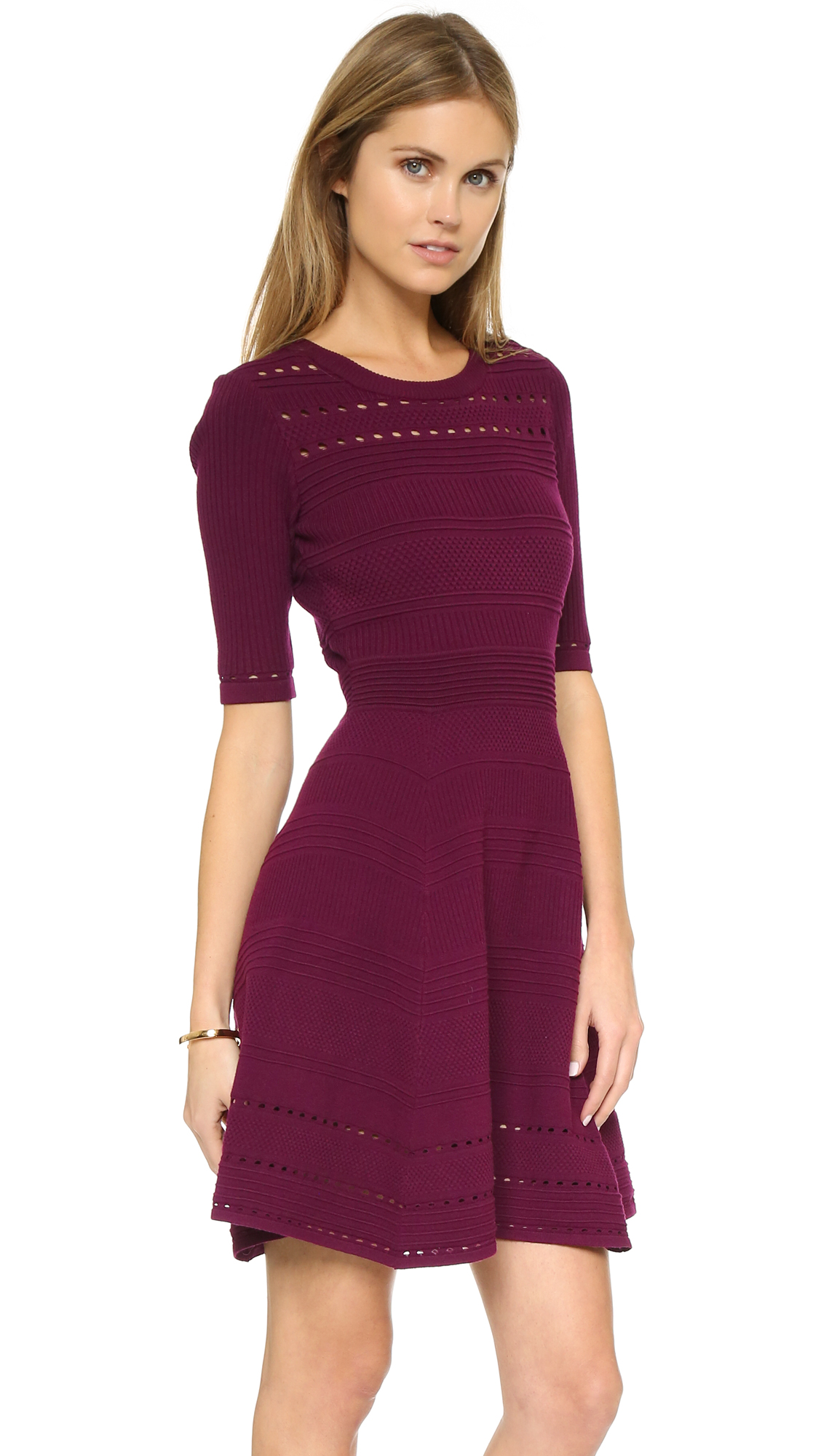 Milly Textured Stitch Flare Dress  1a3128fc4