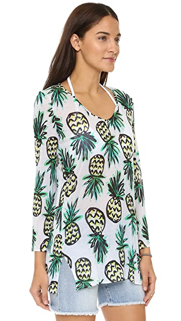 Milly Pineapple Print Buzios V Neck Tunic