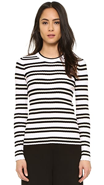 Milly Pop Textured Stripe Pullover Sweater - Neutral Multi