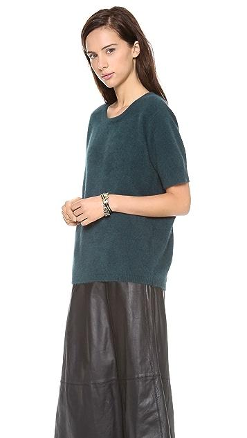 Minnie Rose Short Sleeve Crew Sweater