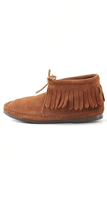 Minnetonka Classic Fringe Booties with Instep Tie