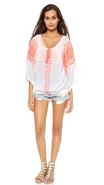 Miss June Roumania Embroidered Cover Up Blouse