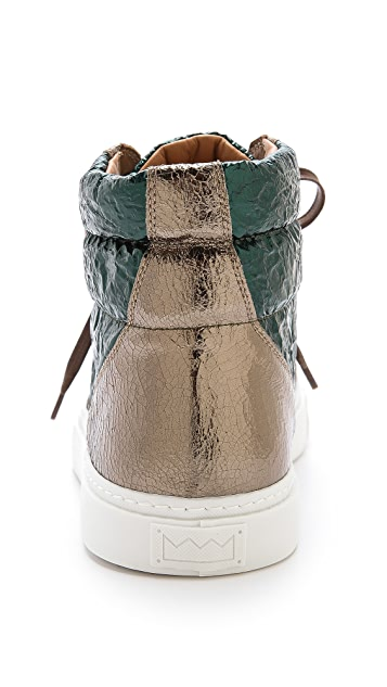 Marc Jacobs Wrinkled Leather High Top Sneakers