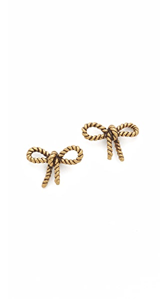 Marc Jacobs Rope Bow Stud Earrings - Antique Gold