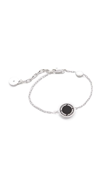 Marc Jacobs Enamel Logo Disc Bracelet - Black/Argento
