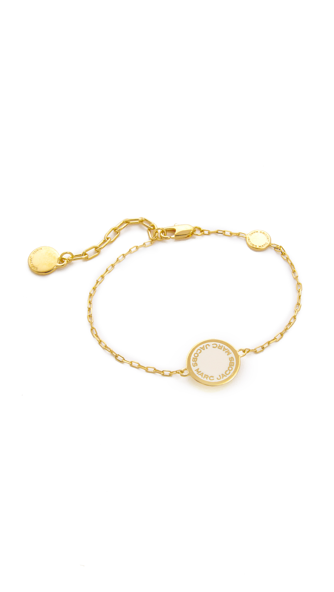 marc jacobs female 218263 marc jacobs enamel logo disc bracelet cream