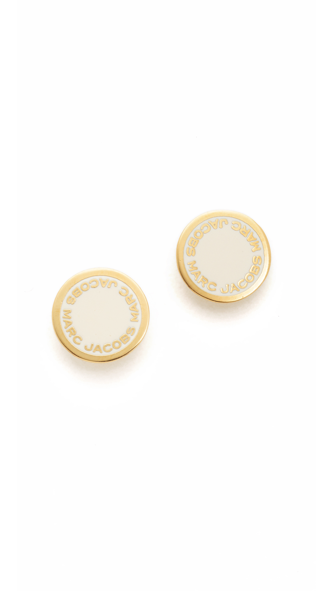 marc jacobs female 218263 marc jacobs enamel logo disc stud earrings cream