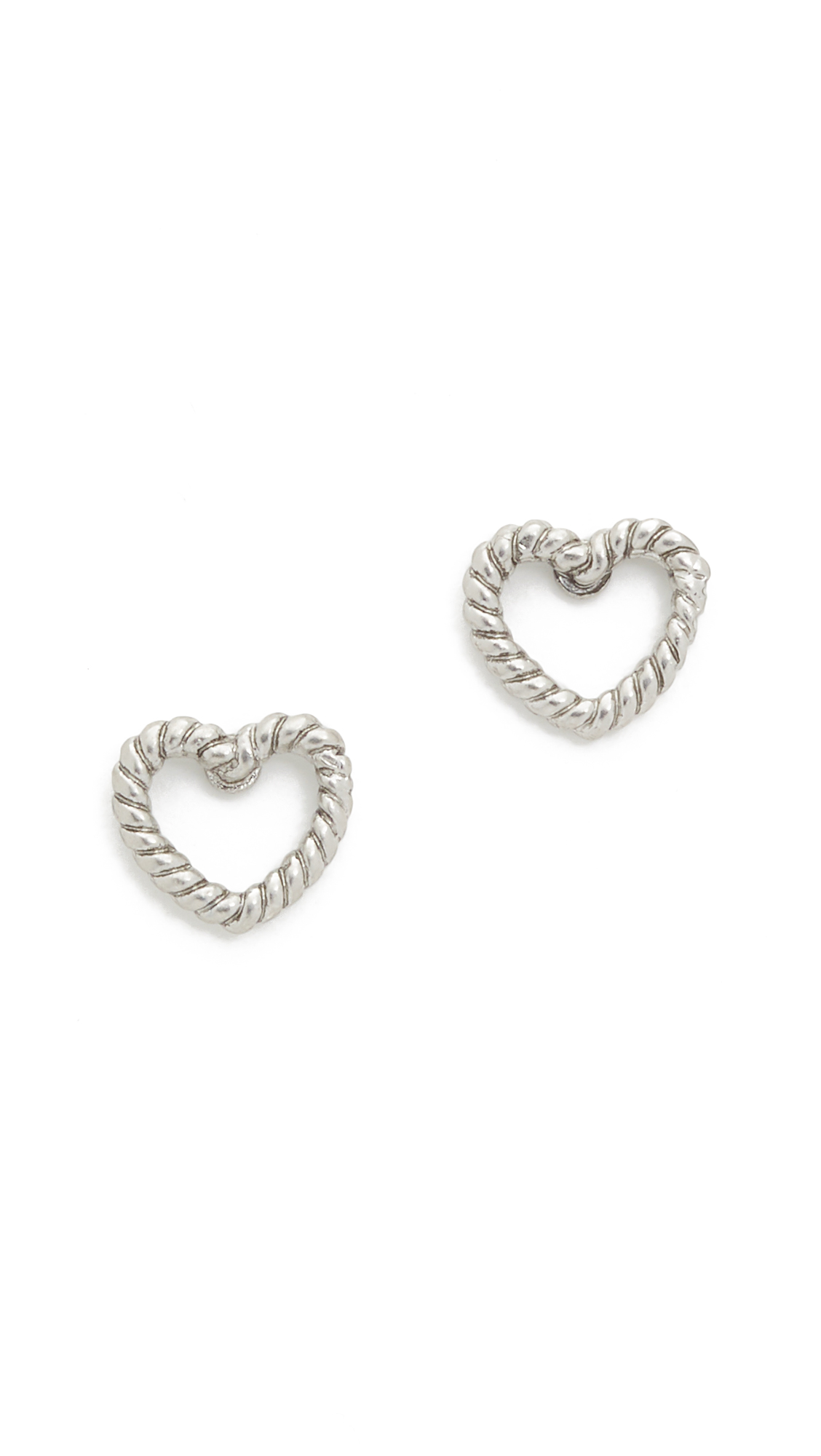 marc jacobs female 45900 marc jacobs rope heart stud earrings antique silver
