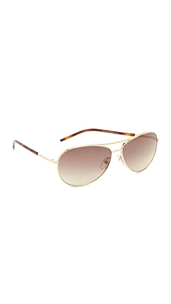 Marc Jacobs Easy To Wear Curved Aviator Sunglasses - Gold/Brown