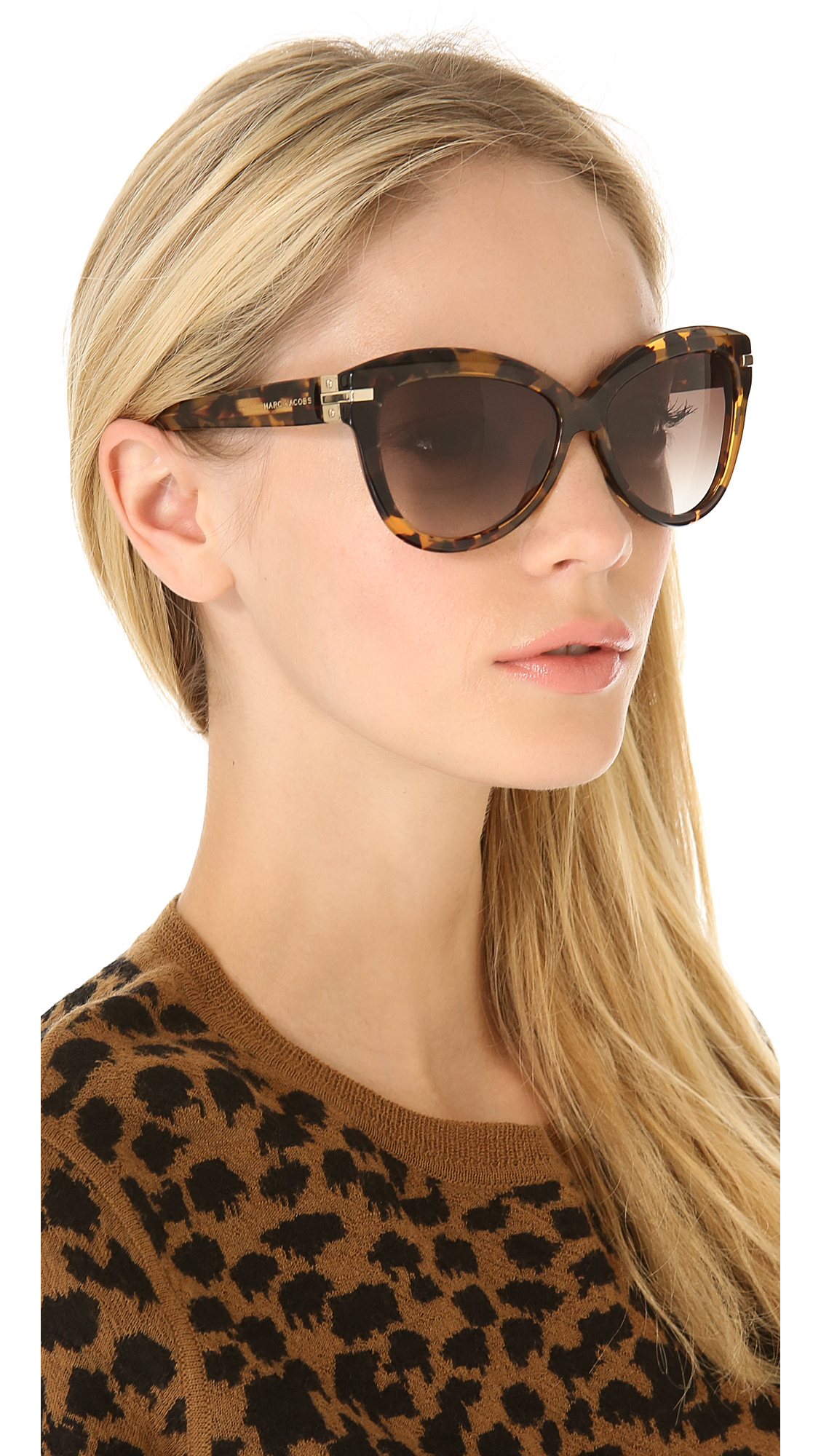aef2318491bb Marc Jacobs Sunglasses Exaggerated Cat Eye Sunglasses | SHOPBOP
