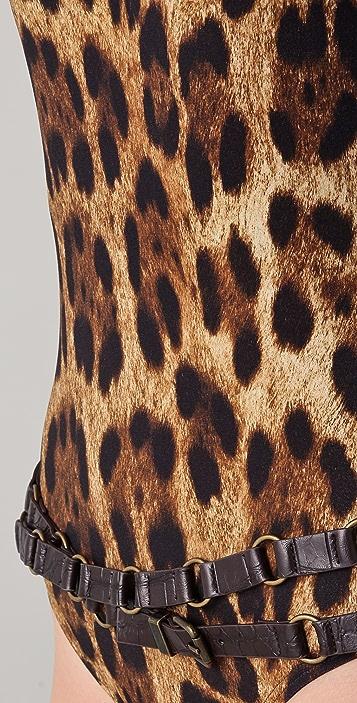 Michael Kors Collection Singita Leopard Belted Maillot