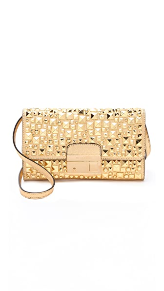 Michael Kors Collection Metallic Studded Lock Clutch