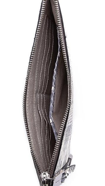 Michael Kors Collection Miranda Zip Snakeskin Clutch