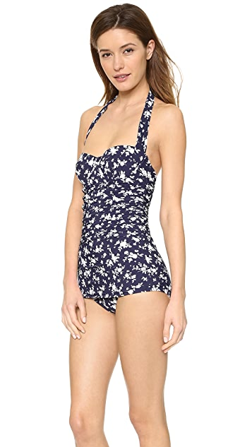 Michael Kors Collection Pansy Print Halter One Piece