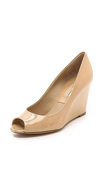 Michael Kors Collection Valari Patent Peep Toe Wedges