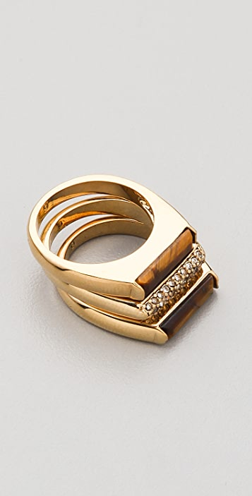 Michael Kors Sleek Exotic Tigers Eye Stacked Rings