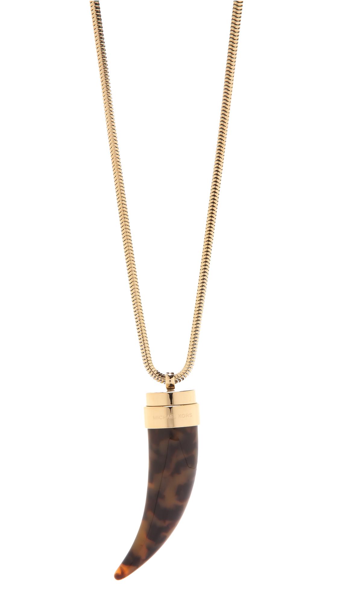 Michael kors tortoise horn pendant necklace shopbop mozeypictures Image collections